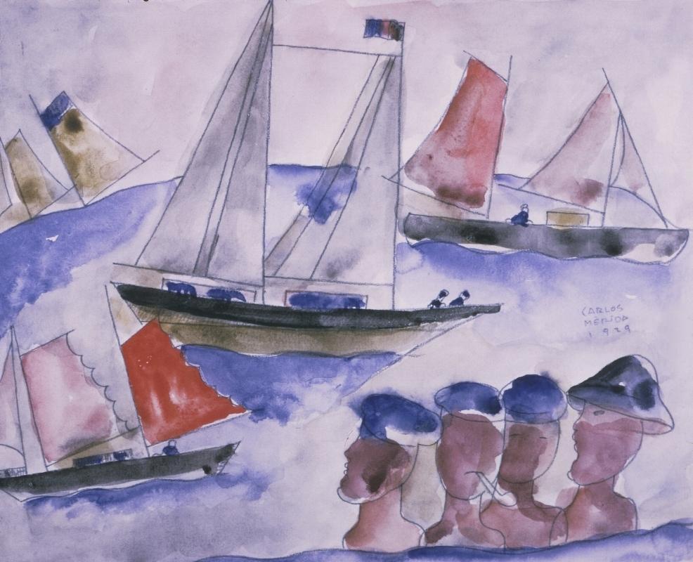 Marina,  1929 Gouache on paper, 11 1/4 in. (28.575 cm), 8 3/4 in. (22.225 cm) Gifts of Abby Aldrich Rockefeller, W.935.1.46