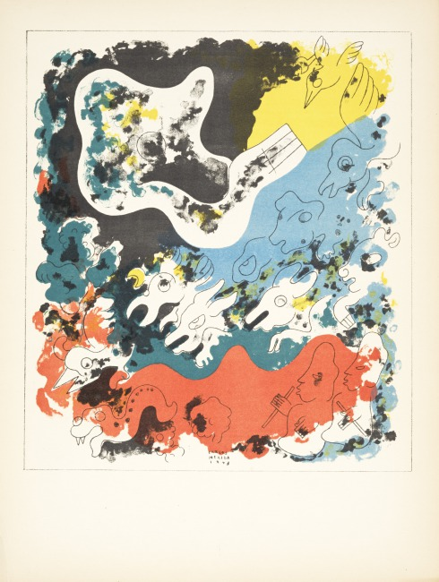 """This print illustrates the gods assigning each animal its role in the natural world.  Stamps of Popol-Vuh (""""In the end they endowed animals with fecundity ..."""" ), Edition 278/1000, 1943 Lithograph on paper, 12 5/6 in by 16 5/16 in (41.4 x 31.2 cm)    Gift of Eric Richards, PR.2004.72.1-3"""