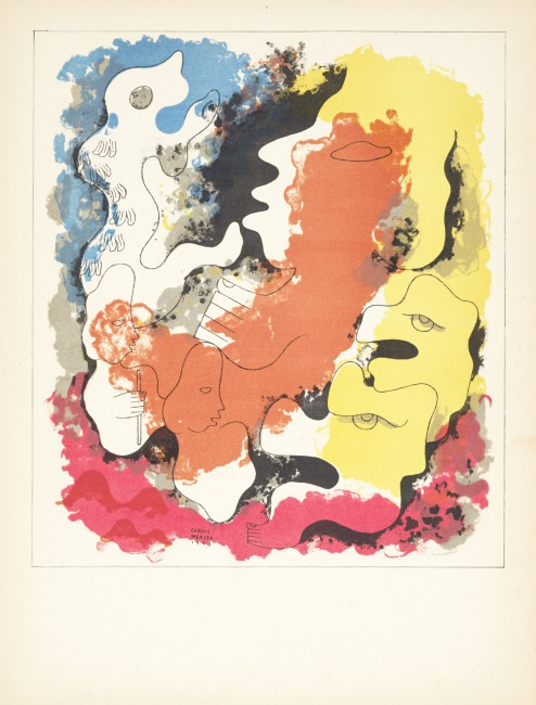 """This print shows the original gods at the time of creation, making man and announcing their work to Xpiyacoc and Xmucané.  Stamps of Popol-Vuh ( """"Then the creation and the formation of man took place ..."""" ), Edition 278/1000, 1943 Lithograph on paper, 12 5/6 in by 16 5/16 in (41.4 x 31.2 cm) Gift of Eric Richards, PR.2004.72.4"""
