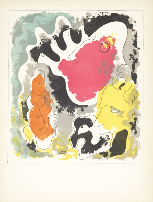"""The print shows the evil Vukub-Cakix (Great Parrot), and his powerful sons Zipacná and Cabrakán.  Stamps of Popol-Vuh (""""But Vukub-Cakix (Great Macaw) - had two sons ..."""" ), Edition 278/1000, 1943 Lithograph on paper, 12 5/6 in by 16 5/16 in (41.4 x 31.2 cm),  Gift of Eric Richards, PR.2004.72.6"""