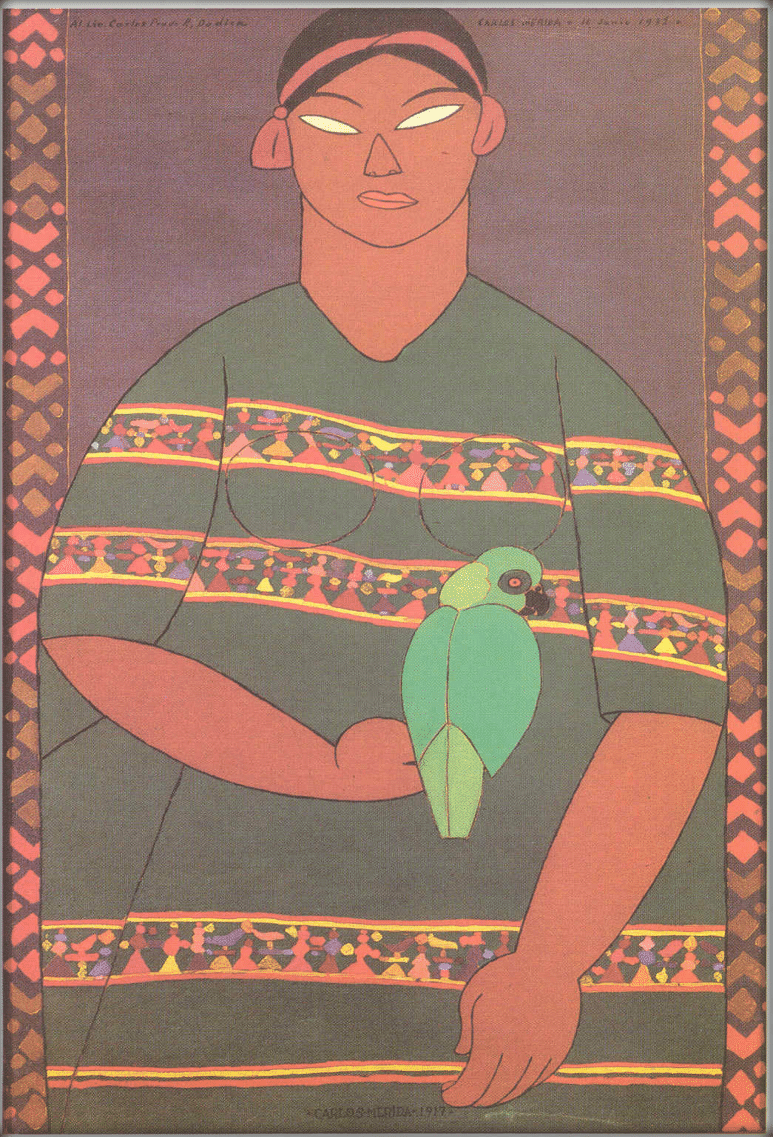 Lady with the Parrot, 1917 Oil on canvas,  108 X 63 cms. Courtesy of the Galería Arvil, Mexico City