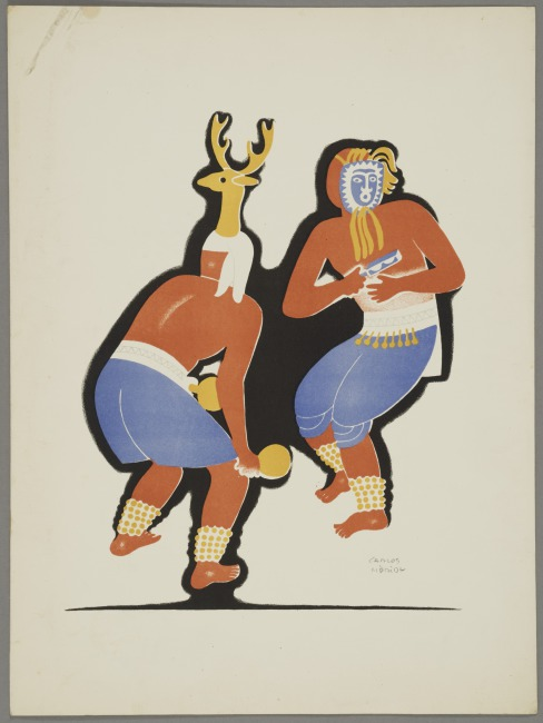 The Pascola and the Deer, plate 8, from the portfolio Dances of Mexico, 1939 Lithograph on paper, 9 3/4 in (24.765 cm), 13 ½ in (34.29 cm) Gifts of Abby Aldrich Rockefeller, W.935.1.44