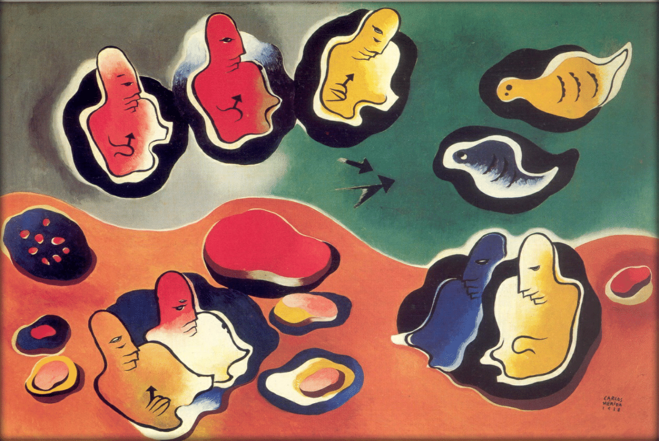 Projection of a hunt (Mayan Themes) ,  1938 Oil on canvas ,  69 × 91 cm Courtesy of the Galeria Arvil, Mexico City