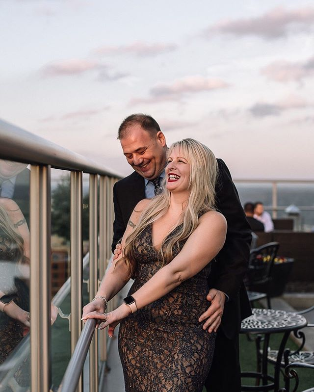I just can't get over the smiles on these two!! When you know, you know, ya know?  Mike proposed to his long time girlfriend, Brandy at @fahrenheitclt during a gorgeous sunset. If you follow my blog, you may remember that I showed up a day early for this. That's how excited I was. Anyone else ever showed up a day early for something?? I guess that's better than a day late, right?! . . . . . #surpriseproposal #candidproposal #proposal #heproposed #hepoppedthequestion #shesaidyes #engaged #fiance #marryme #gettingmarried #yesyesyes #charlottecouple #charlottelife #704 #amandamossphotography #charlotteweddingphotographer #momentslikethese #laughter #genuine #capturingemotions #chasinglight #shootandshare #rooftop #fahrenheitclt #clt #couplegoals #trueloveneverdies #follow
