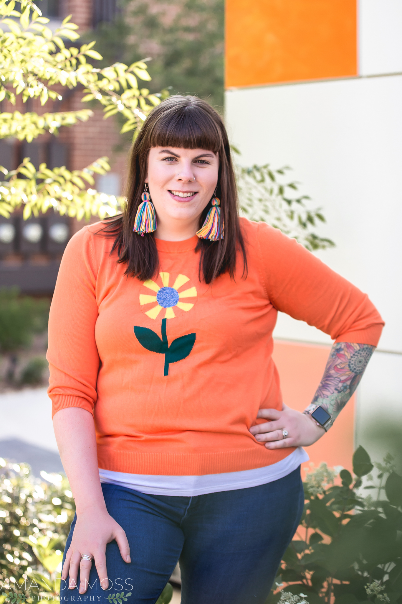 charlotte north carolina headshot branding portrait photographer south end noda fun silly confetti hearts wall