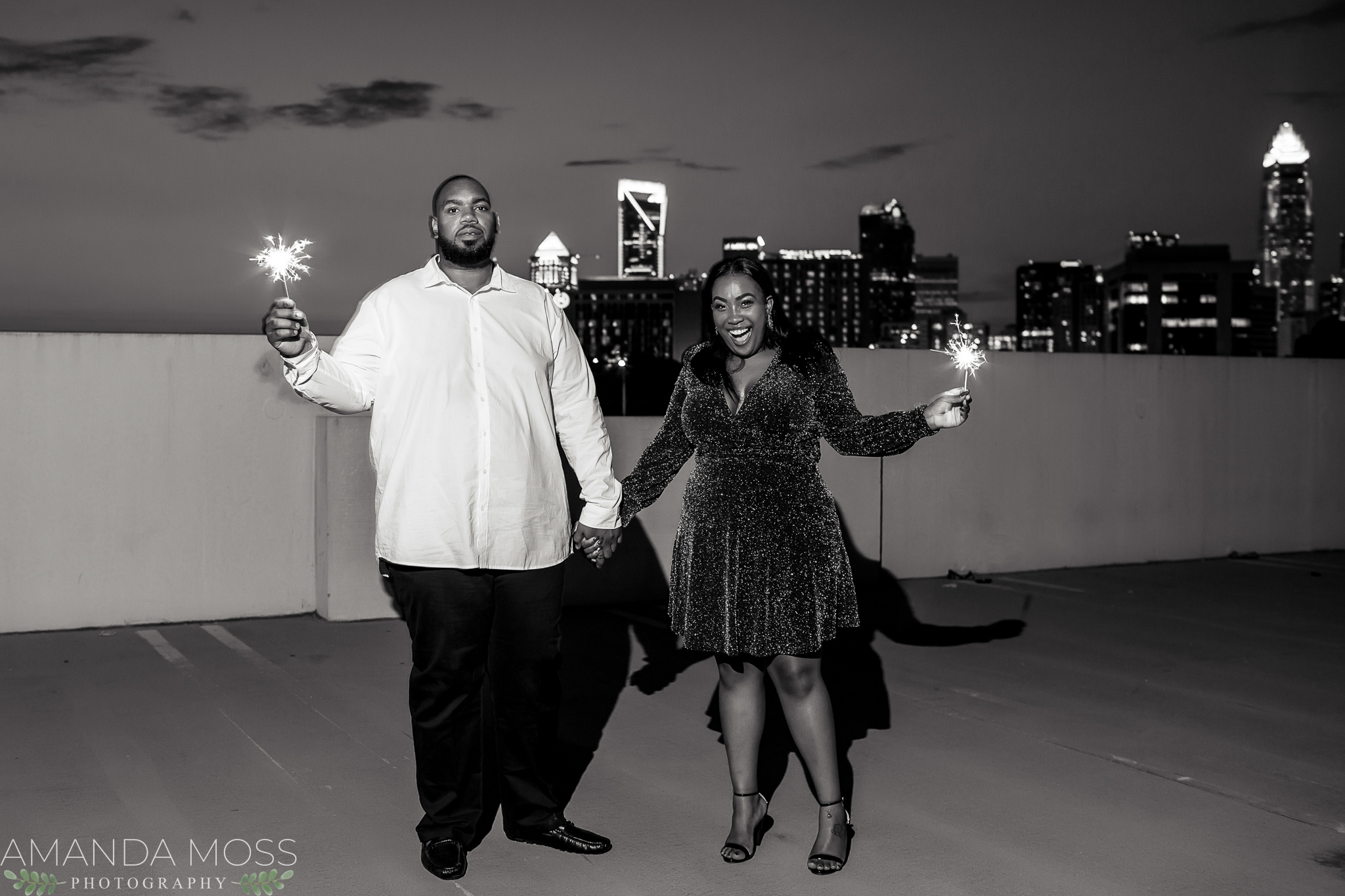 charlotte north carolina wedding photographer african american engagement session downtown skyline