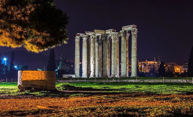 Zeus was the first of the gods and a very imposing figure! But he didn't have a temple in Athens worthy of his glory. Emperor Hadrian was determined to change that. His vision was to build the greatest, most glorious temple of the Greek world at his beloved city. Using the resourses of Rome, he build in Athens a colossal temple that was twice the size of the Parthenon! Formally dedicated in 132 AD, a true wonder: the temple of Olympian Zeus  #history #athens #athensnightowls #walk #walkingtour #travel #travelgram #travel_greece #mythology #bestoftheday #photography #photooftheday #picoftheday #instagood #instago #goodnight #night #temple #greece