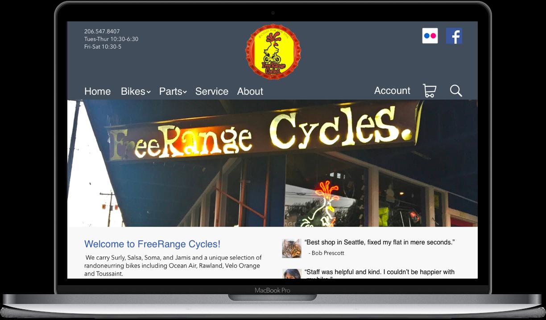 FreeRange Cycles - Web redesign concept