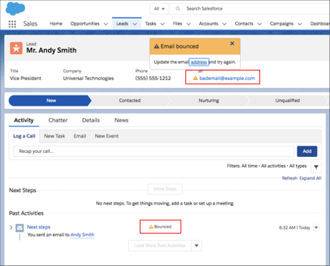 Salesforce highlights the bounced email address