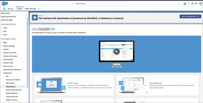 Mulesoft dataloader plus other other data import and integration tools available within Salesforce