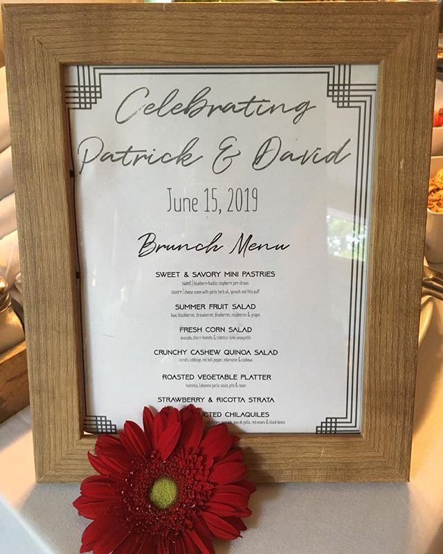 Celebrating Patrick and David with a dreamy brunch wedding menu. Gorgeous seasonal fresh salads, house made sweet and savory breakfast pastries and a drool worthy chilaquiles bar to create endless possibilities. • • • • #weddingcatering #wedding #annarbor #brunchmenu #seasonal #fromscratch