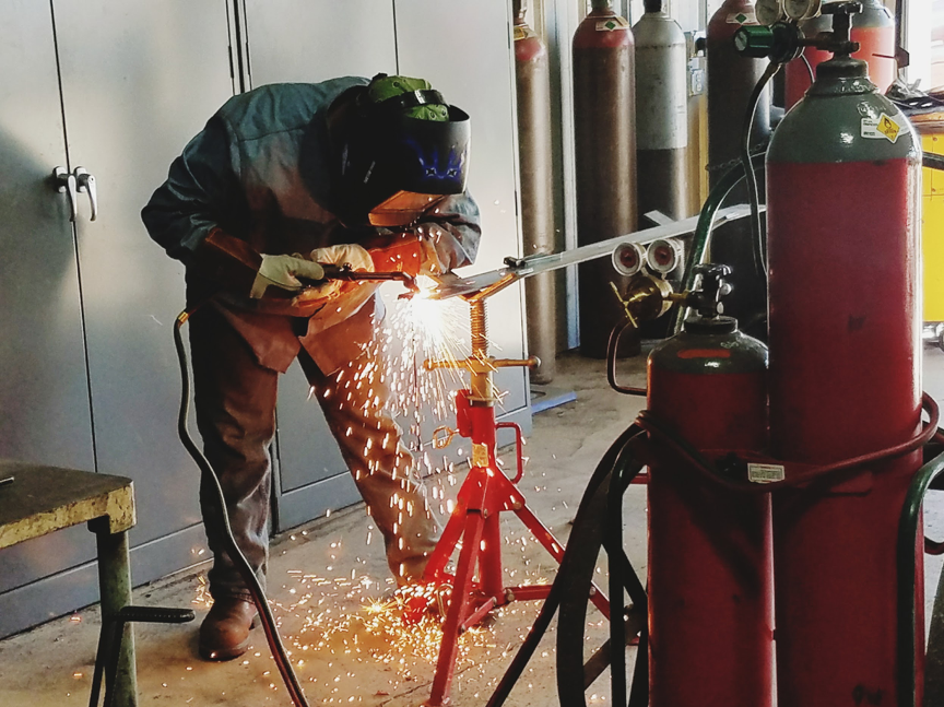 A student at    Roscoe Collegiate    works in the school's welding lab. Through project-based learning, students at Roscoe have the opportunity to gain the skills desired by local and state industries, including welding, veterinary sciences, agriculture, and drone piloting.