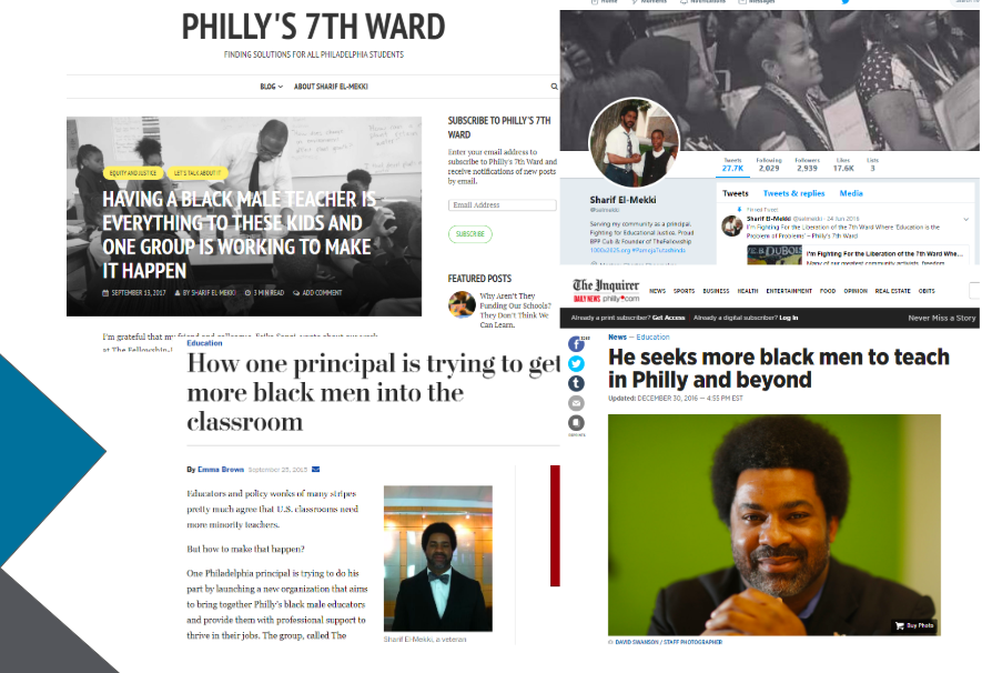 Clockwise from top: Sharif El-Mekki's personal blog, Twitter account, feature in The Inquirer, and feature in The Washington Post