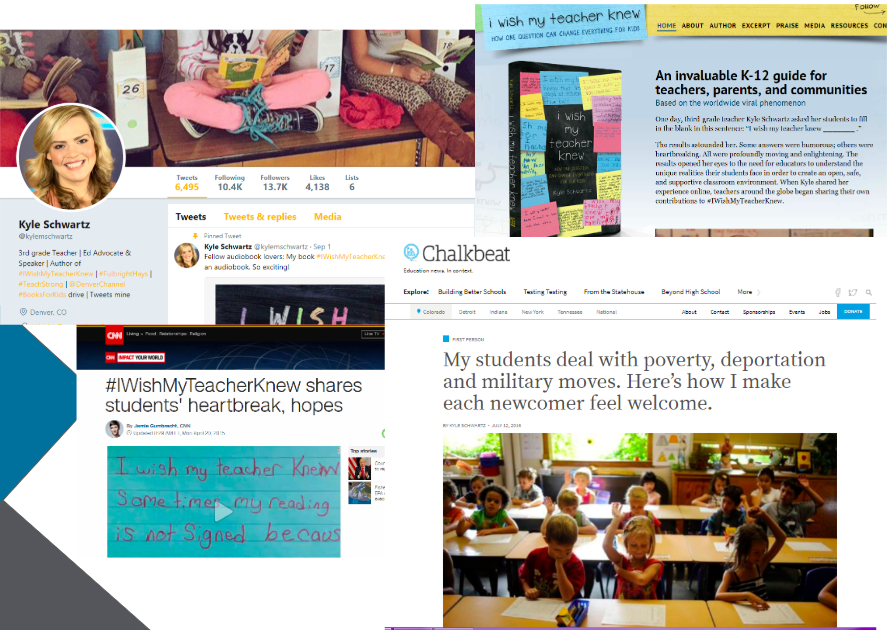Clockwise from top: Kyle Schwartz's Twitter page, author website, Chalkbeat op-ed, and CNN feature.
