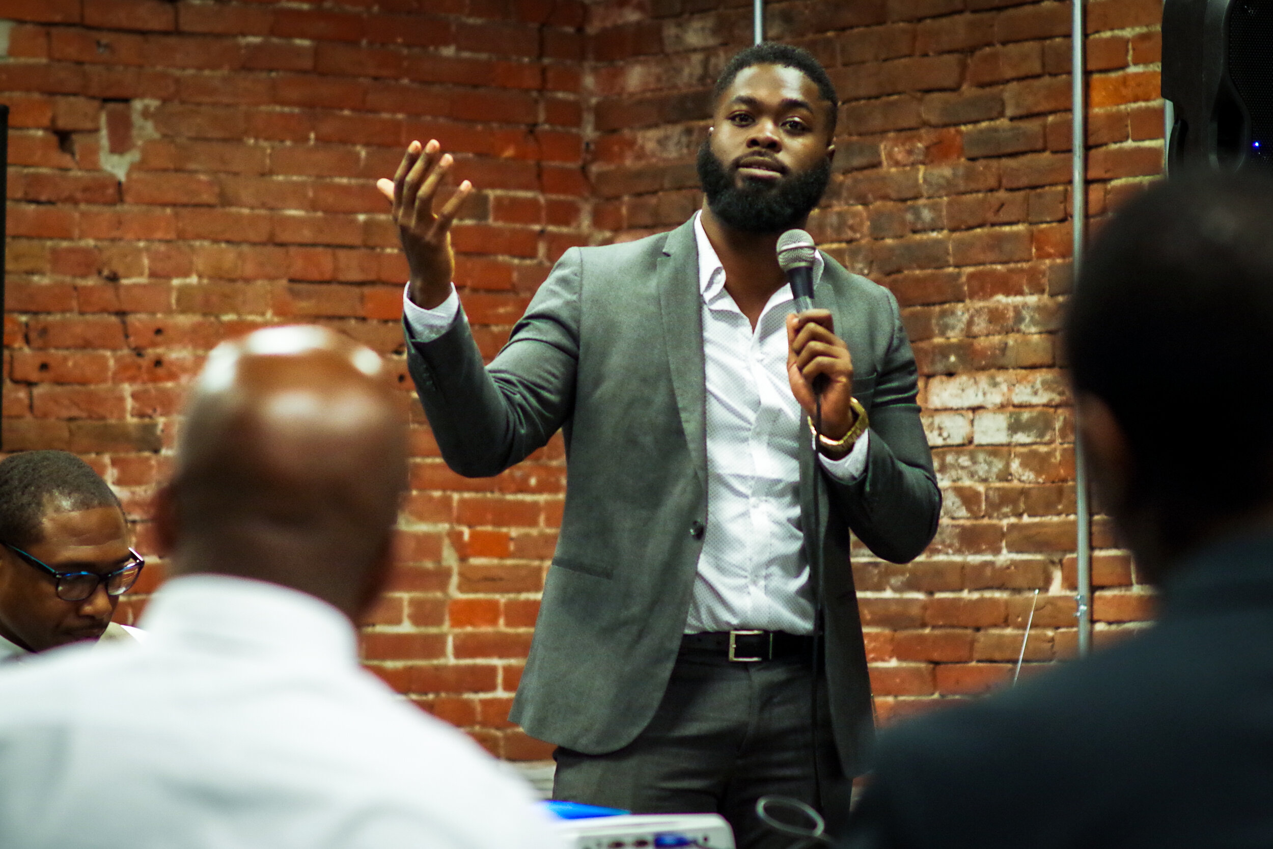America Achieves Fellow William Hayes speaks at a convening for the Fellowship of Black Male Educators, a nonprofit he co-founded with other educators. Their work aims to recruit and support Black teachers.