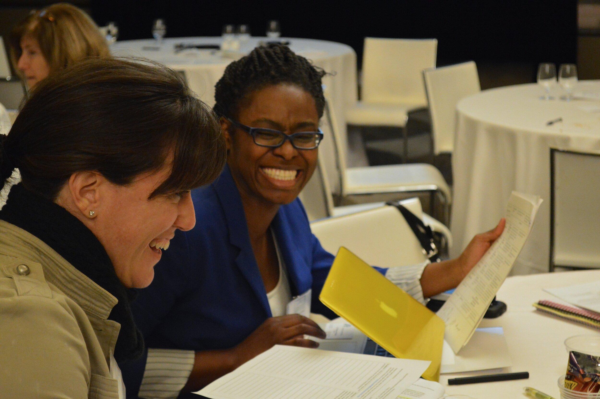 AAFTP Principal Fellows Lakimbre Brown and Dana Nerenberg share a laugh (2) - Copy.JPG