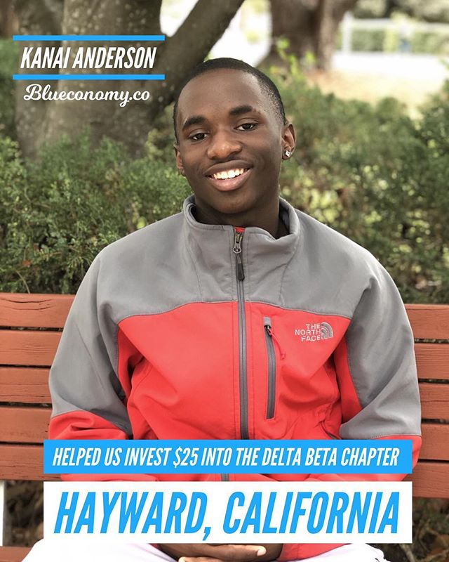 Thank you Bro. Kanai Anderson for joining Blueconomy as an annual member. Your investment in the community helped us invest $25 into the Delta Beta chapter at California State University East Bay in Hayward, CA. . We are one step closer to investing $10,000 into chapters worldwide and building the Android version of #Blueconomy @chocolatepapii98 —- @blueconomy was created to help our blue & white family collaborate in a way we never have before. We help you stay updated on events, find and connect with brothers and sisters around the world, and support economic growth within our community. . We're building an economy that will empower thousands of women and men generations to come. Similar to how those who came before us built something to empower us. . If you believe in our mission, share with members of the blue & white family. 🤘🏽💙🕊