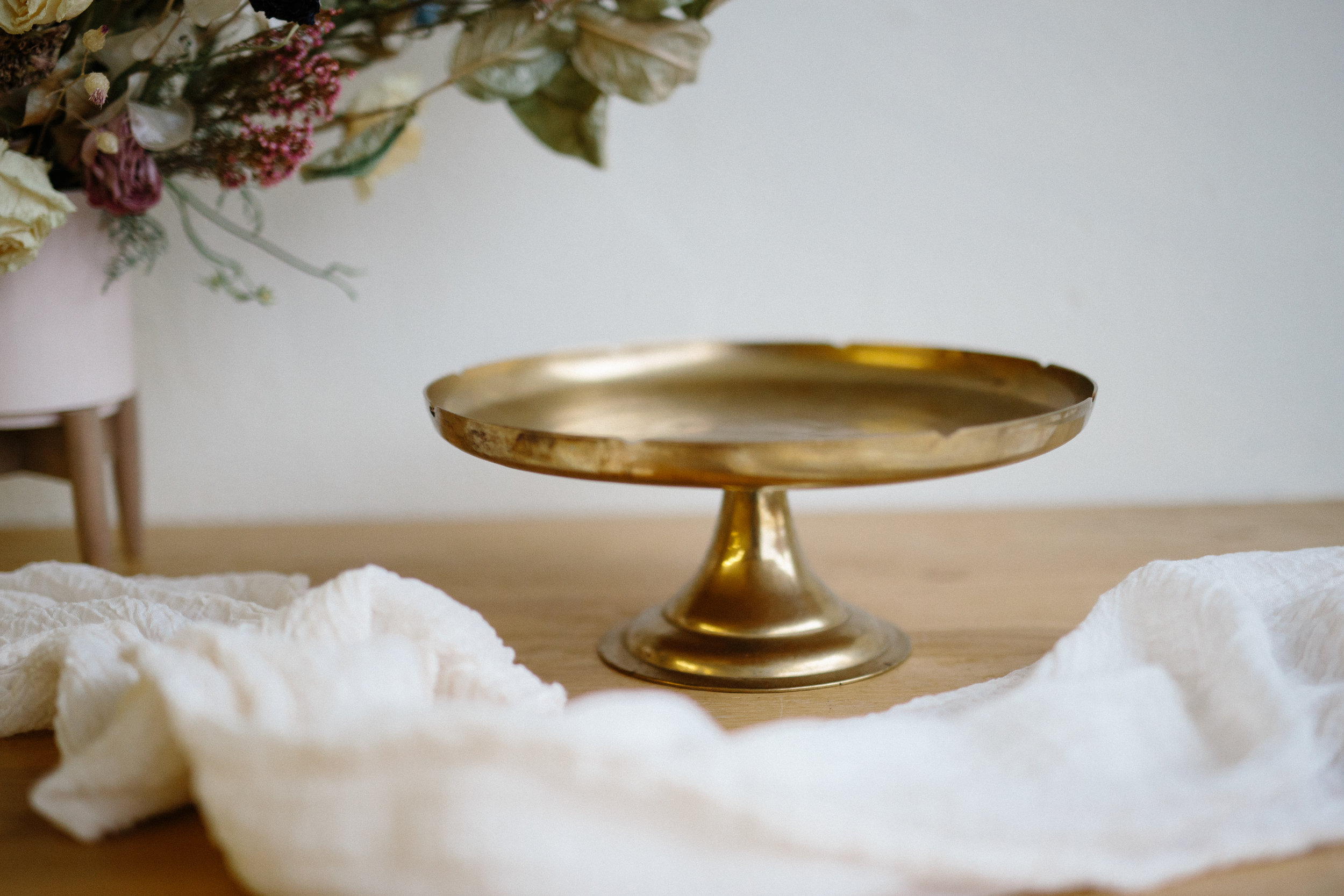 LARGE BRASS CAKE STAND // $15