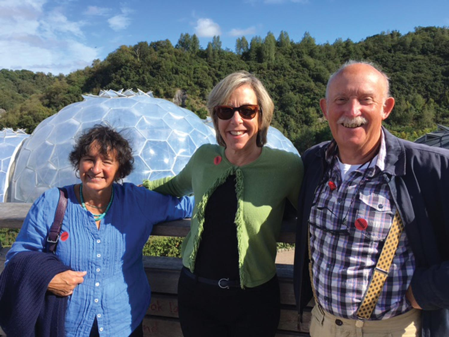 Wife Ann Foster, Artistic Director Kristin Poole, and Tony Foster visiting the Eden Project, a global garden, in Cornwall, 2016.    Photo by Paul Salisbury