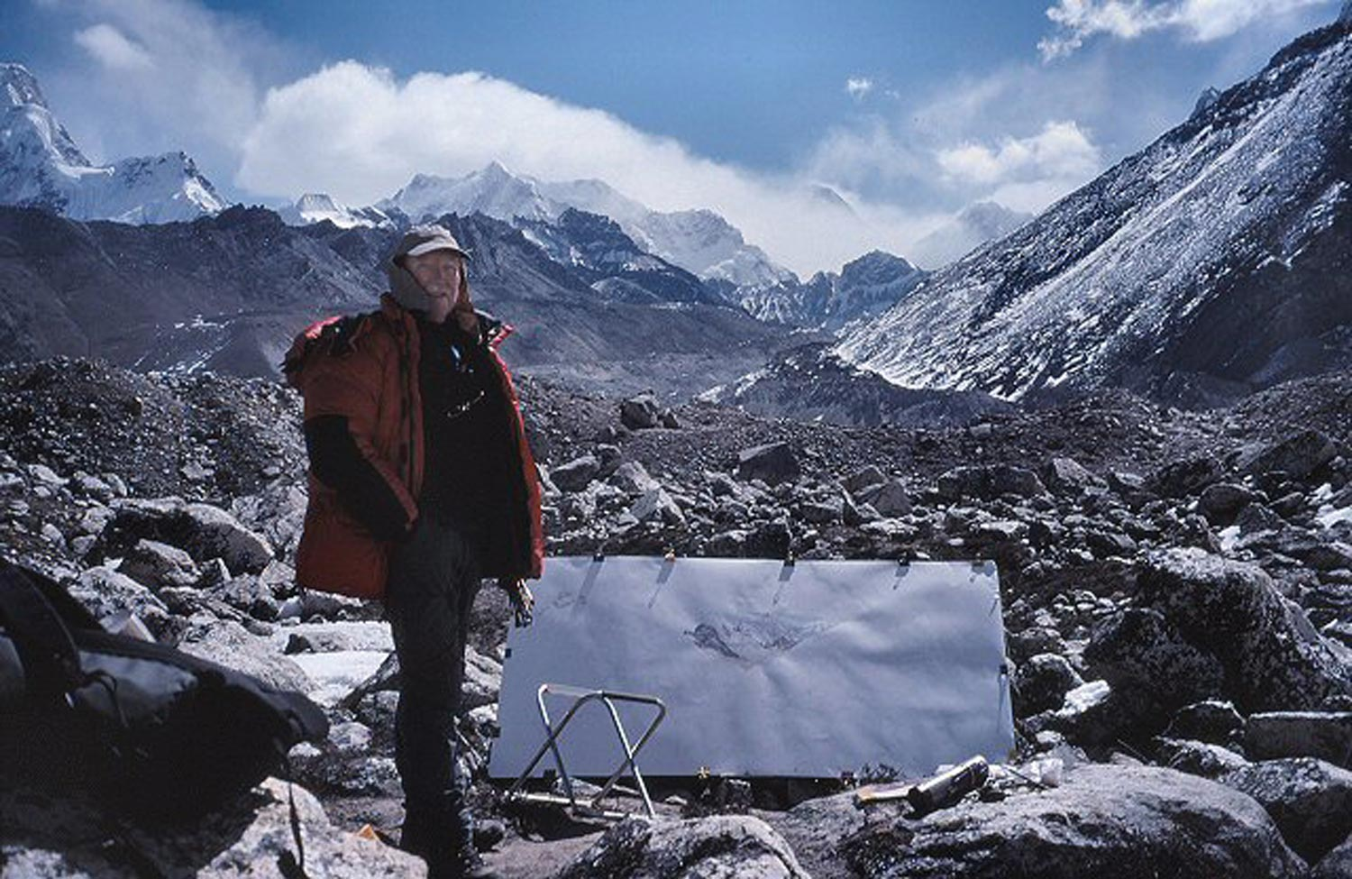 In some ways the technique isn't as risky as the journey. Tony Foster with unfinished painting of Everest from Ngozumba above Gokyo, Nepal, 2005. Photo by Mike Nathan