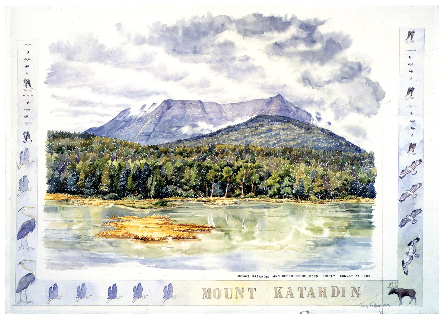Tony Foster, Mount Katahdin,  1984 | Watercolor and graphite on paper, mixed media | 21 x 31 1/2 in. | 1984.2.24.2