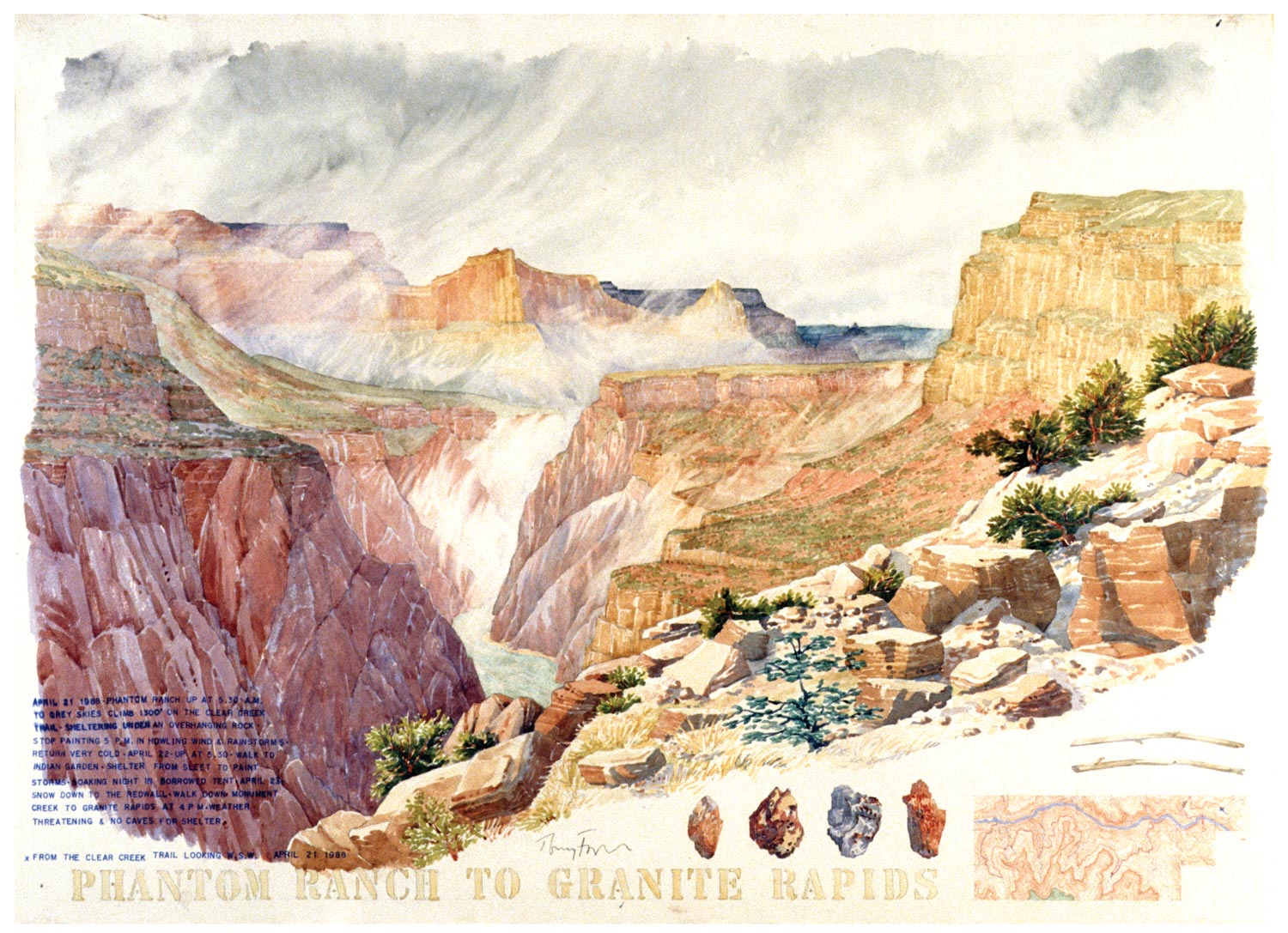 Tony Foster, Phantom Ranch to Granite Rapids , 1988   Watercolor and graphite on paper   22  1/2  x 31  1/4  in.   1988.1.9