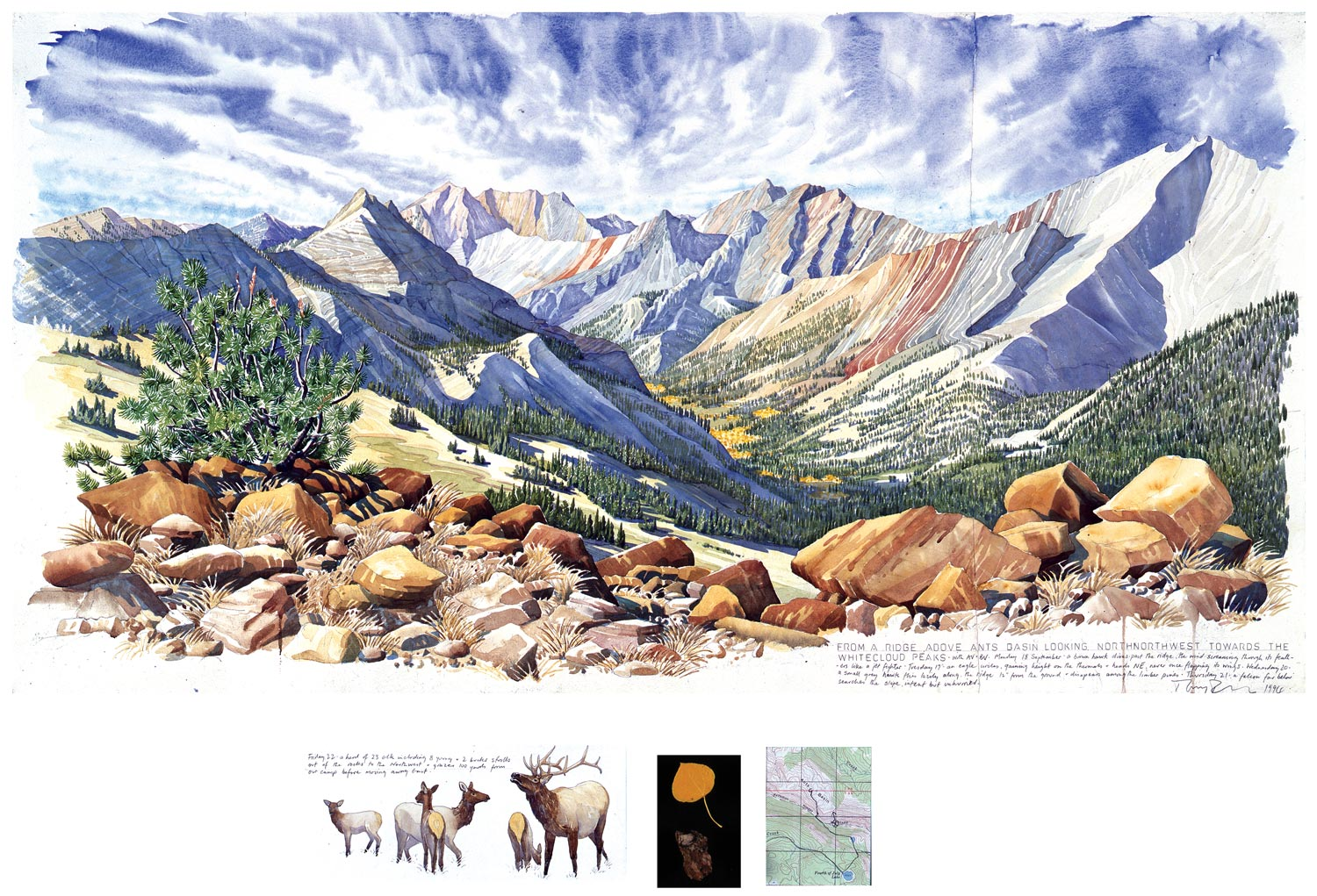 Tony Foster,  From a Ridge Below Ants Basin Looking 320o NNW to the Whiteclouds , 1994 | Watercolor and graphite on paper, mixed media | 42 1/4 x 22 1/2 in. | 1993.1.11