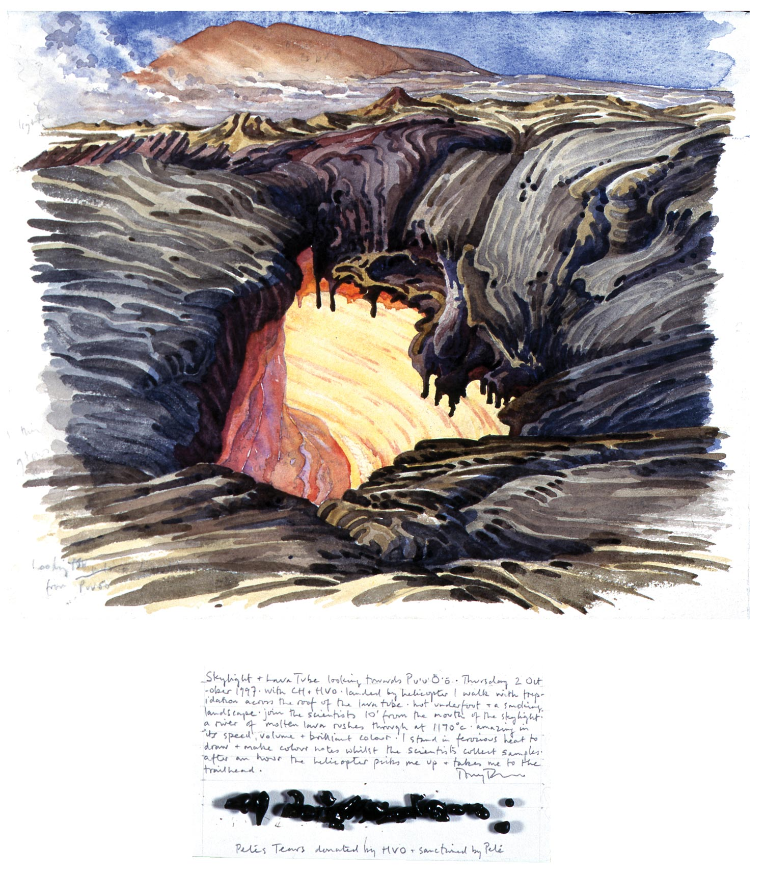 Tony Foster,  Skylight & Lava Tube Looking Towards Pu'u'Õ'õ , 1997 | Watercolor and graphite on paper, mixed media | 10 1/8 x 12 1/2 in. / 3 7/8 x 8 in. | 1996.1.45