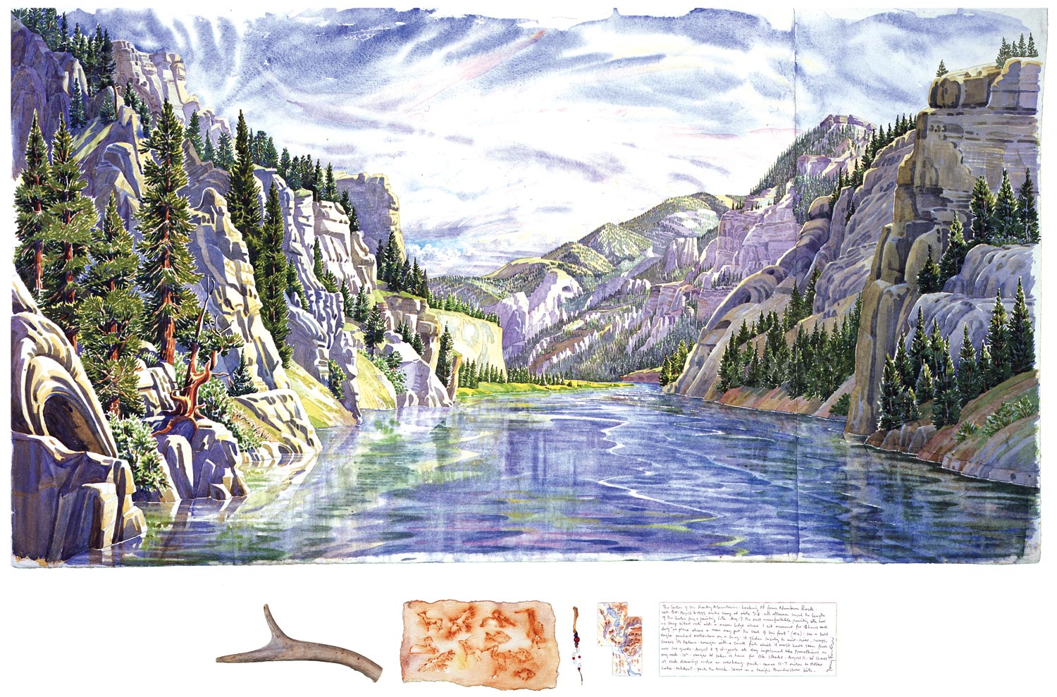Tony Foster,  The Gates of the Rocky Mountains, Looking N from Numbum Rock , 1999  |  Watercolor and graphite on paper, mixed media  |  22 1/4 x 40 1/2 in. / 3 1/2 x 24 1/2 in.  |  1998.1.14