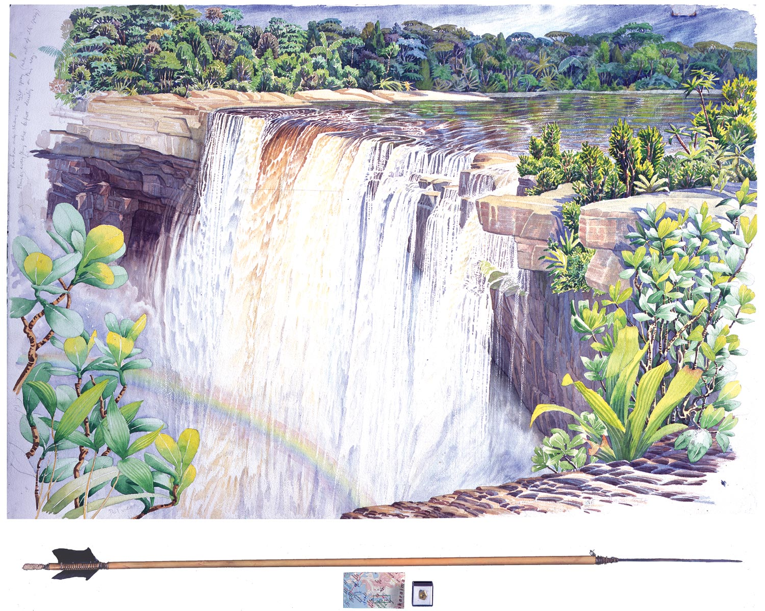 Tony Foster,  Kaieteur Falls Looking S from Ranger Point , 2002  |  Watercolor and graphite on paper, mixed media  |  27 3/8 x 40 3/8 in. / 3 3/4 x 38 1/4 in.  |  1998.2.36