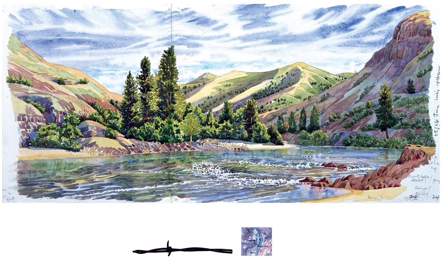 Tony Foster, Mile 363.5 , 2002 | Watercolor and graphite on paper, mixed media | 9 7/8 x 21 7/8 in. / 1 3/4 x 6 3/4 in. | 2002.1.24