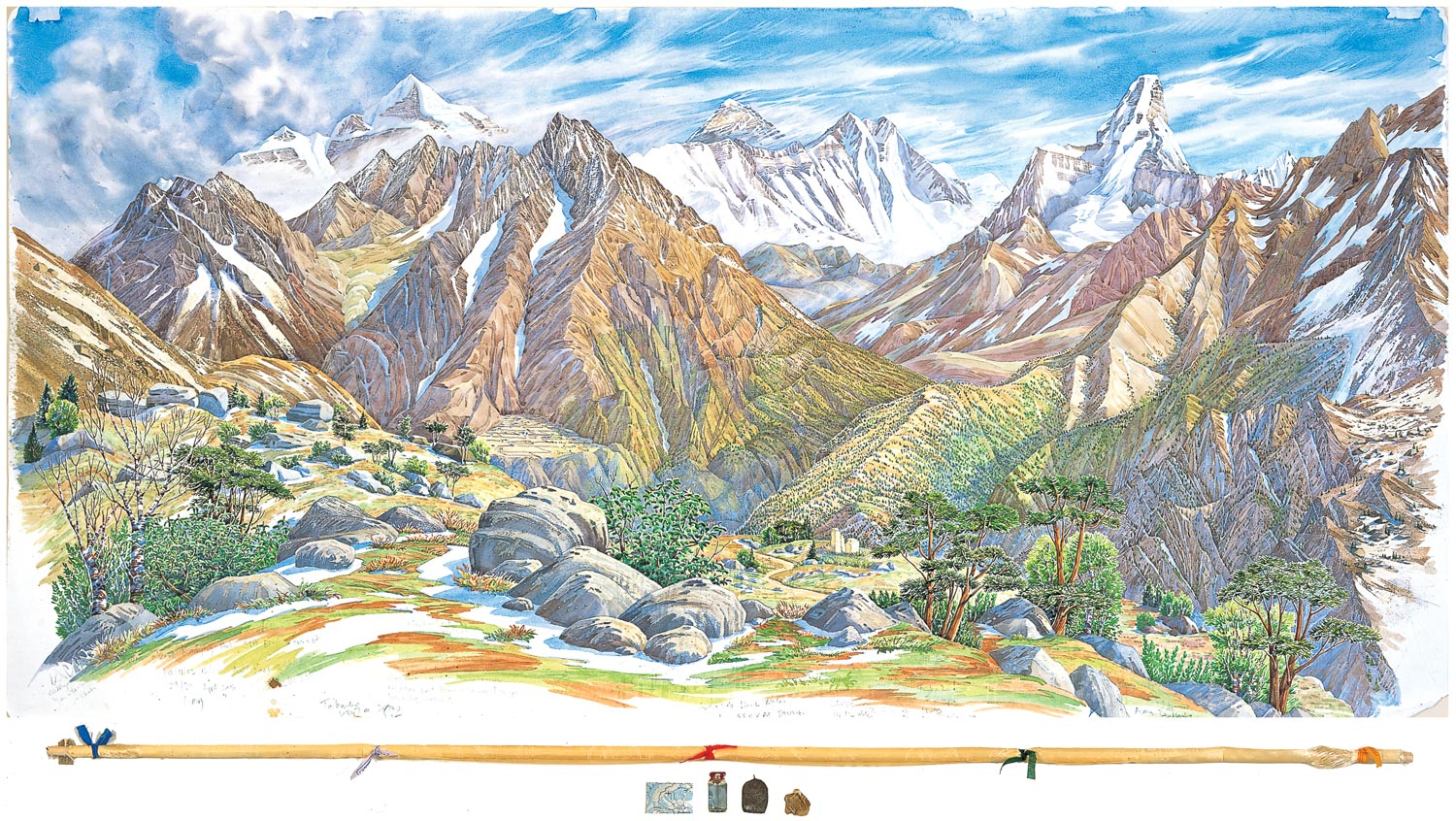 Tony Foster,  Everest, Lhotse, Nuptse, and Ama Dablam Looking NE from near Syangboche , 2006     Watercolor and graphite on paper, mixed media     35 7/8 x 72 in. / 4 1/8 x 68 3/4 in.   2004.1.23