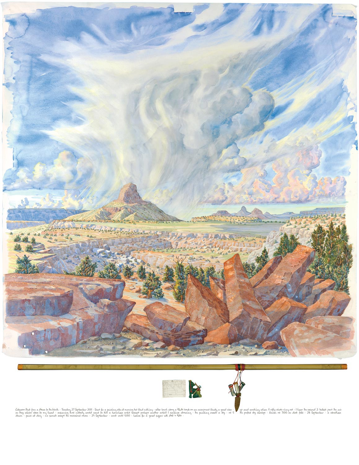 Tony Foster,  Cabezon Peak from a Mesa to the North , 2011  |  Watercolor and graphite on paper, talisman of mixed media symbolic objects including a stone arrowhead by Homer Etherton, map, mixed media Zuni coyote fetish  |  36 x 35 3/4 in. / 3 x 33 5/8 in.