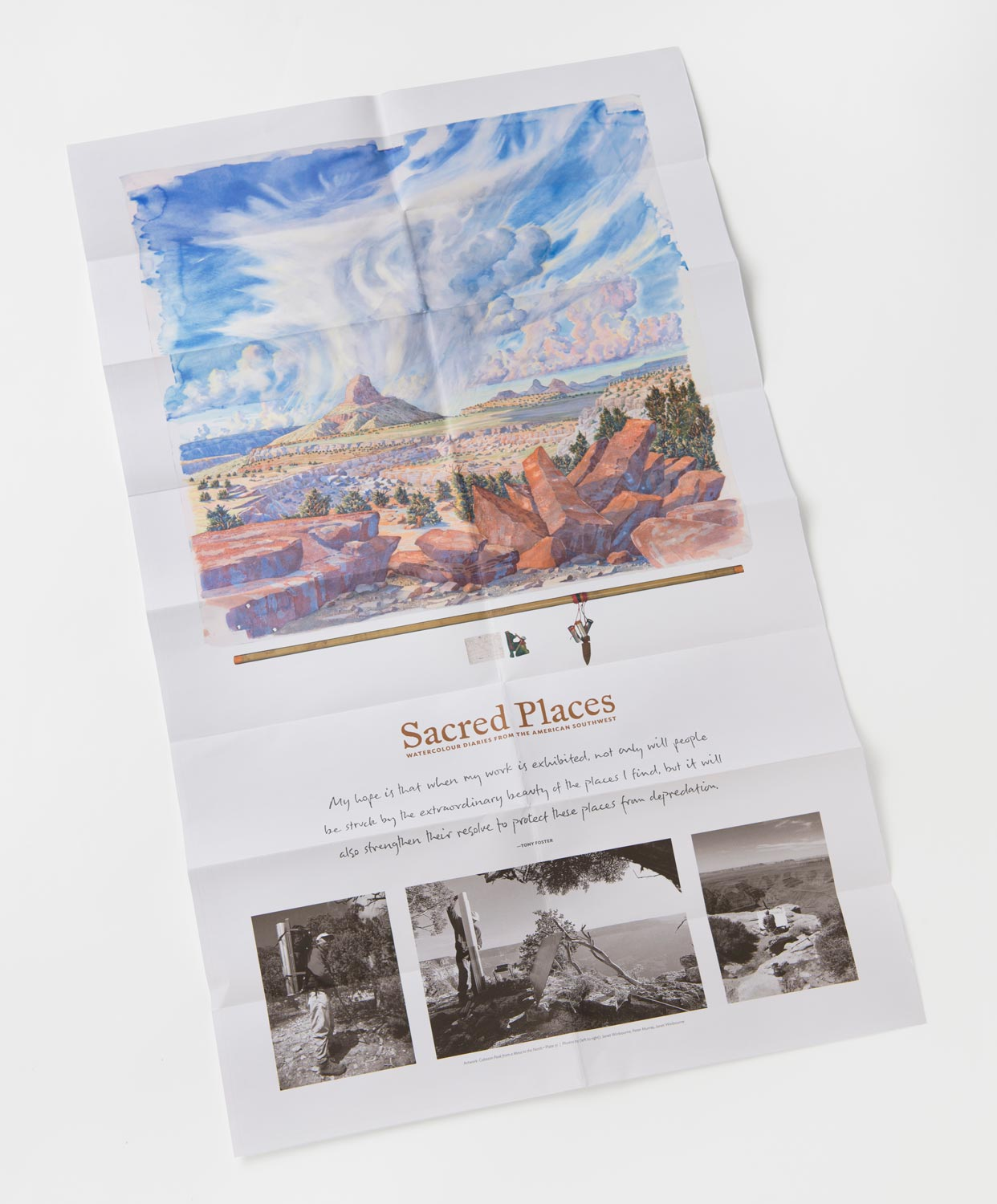 The back side of the travel map is a large poster showcasing one of the  Sacred Places  artworks. 19 x 32 in.