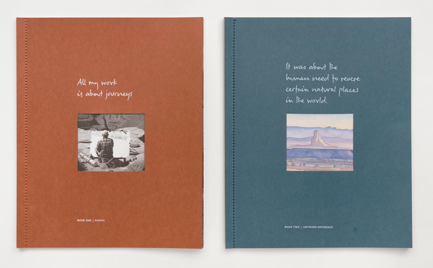 Two side-sewn booklets with essays and detailed information about every artwork. 9.75 x 12 in. each. 108 pages total.
