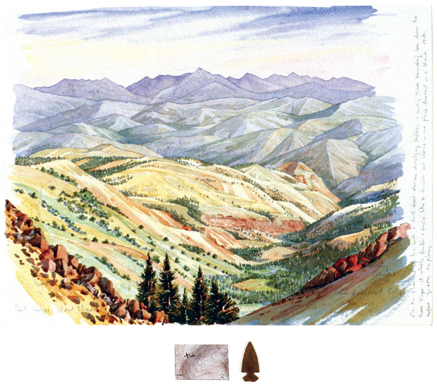 Tony Foster,  Looking East from Railroad Ridge , 2005 | Watercolor and graphite on paper, mixed media | 12 x 15 3/4 in. / 1 1/2 x 3 1/8 in. | 2006.1.3