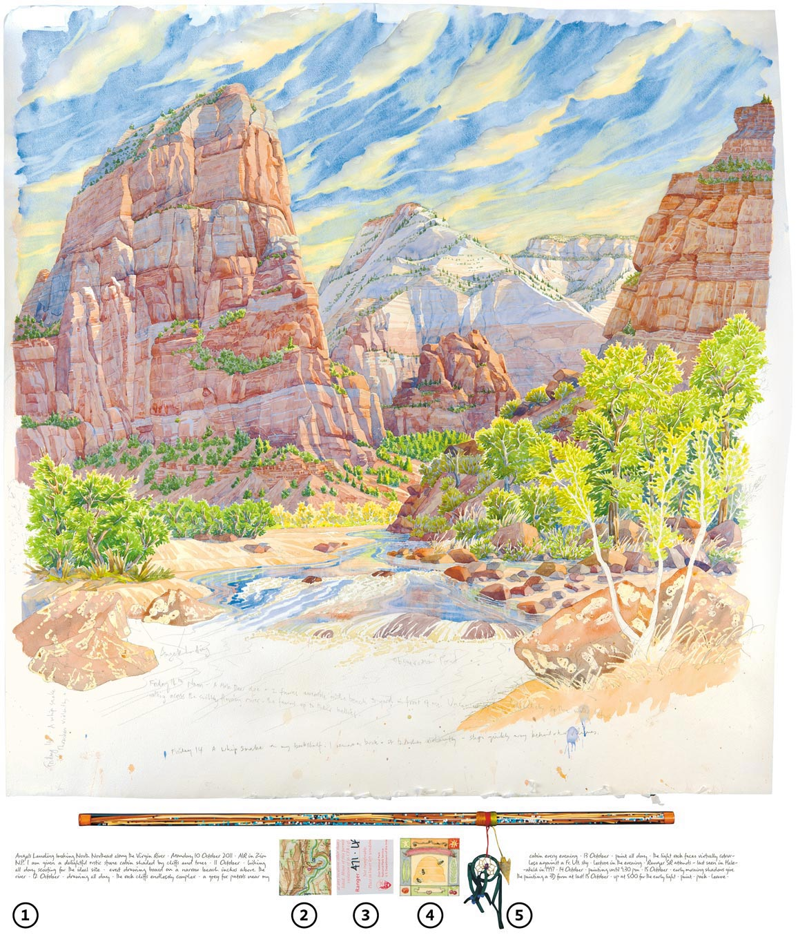 (1) Inscriptions — (2) Maps — (3) Artifacts — (4) Studies — (5) Talismans  Tony Foster,  Angels Landing Looking North Northeast along the Virgin River , 2011. From the journey  Sacred Places .