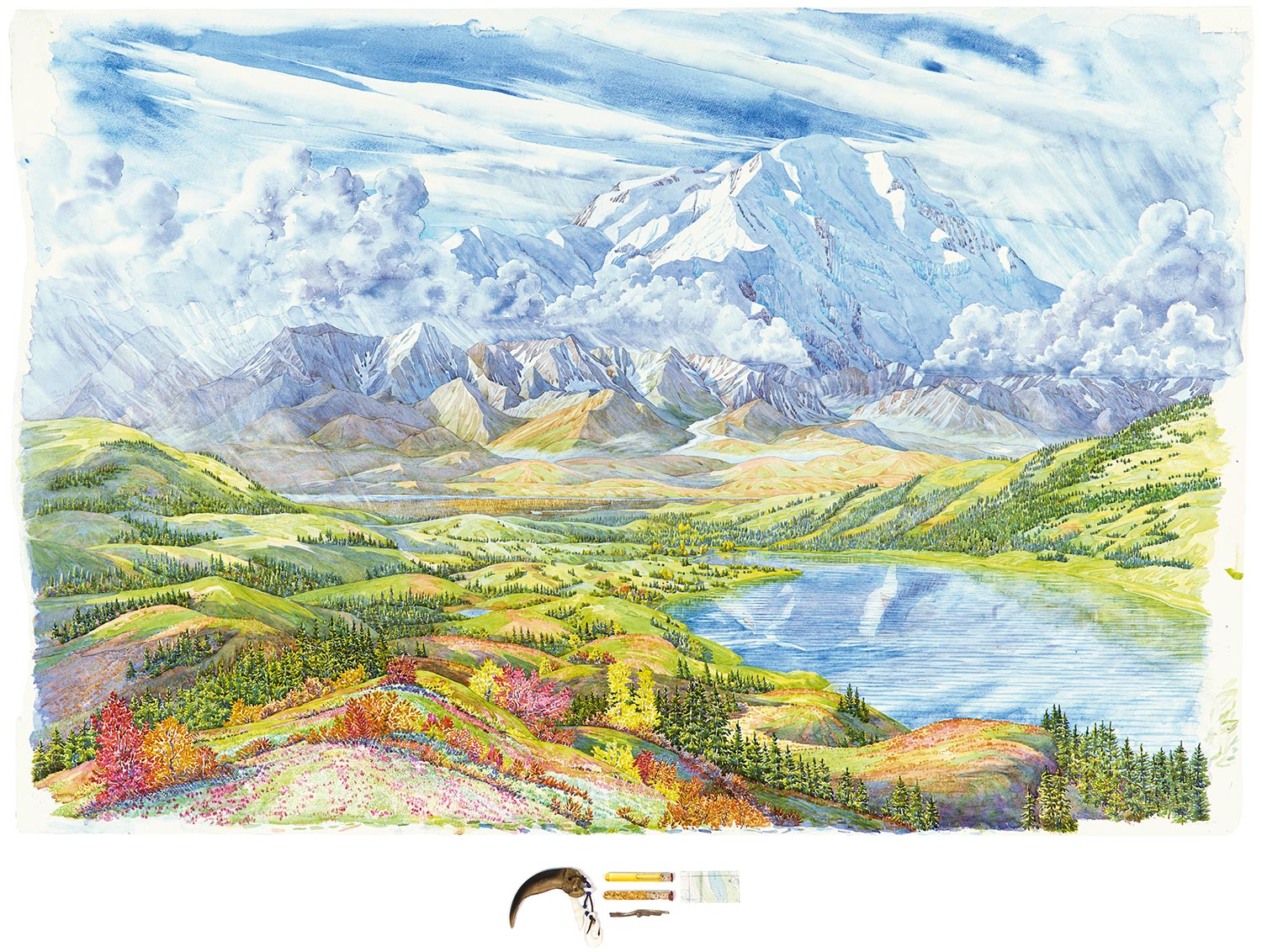 Tony Foster,  Denali and Wonder Lake Looking South from Ansel Adams Point , 2014. Watercolor and graphite on paper, acrylic, bone, leather, glass beads, glass tubes, oil, gold, cork, wax, wood, map. 36 x 54 in. | 3 1/2 x 10 in. Photo by Trevor Burrows Photography. Courtesy of Foster Art & Wilderness Foundation.