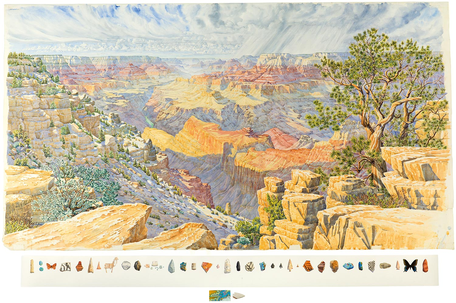 Tony Foster,  Twenty-Three Days Painting the Canyon—From West of Navajo Point , 2013. Watercolor and graphite on paper, map, stone arrowhead by Homer Etherton. 46 1/4 x 84 in. | 5 3/4 x 77 1/4 in. | 2 x 6 3/4 in. Photo by Trevor Burrows Photography. Courtesy of Foster Art & Wilderness Foundation.