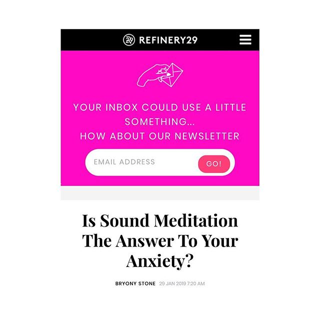 Thank you @refinery29 #bryonystone ! I'm super grateful for your words and your support in spreading the word about #soundmeditation ♾ Link in my story! 📰