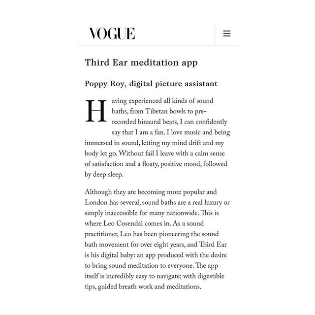 Thank you @vogue @voguemagazine for featuring my app @thirdear_ ! A brand new version is coming out really soon so stay tuned 👂  #soundmeditation #gongbath #vogue