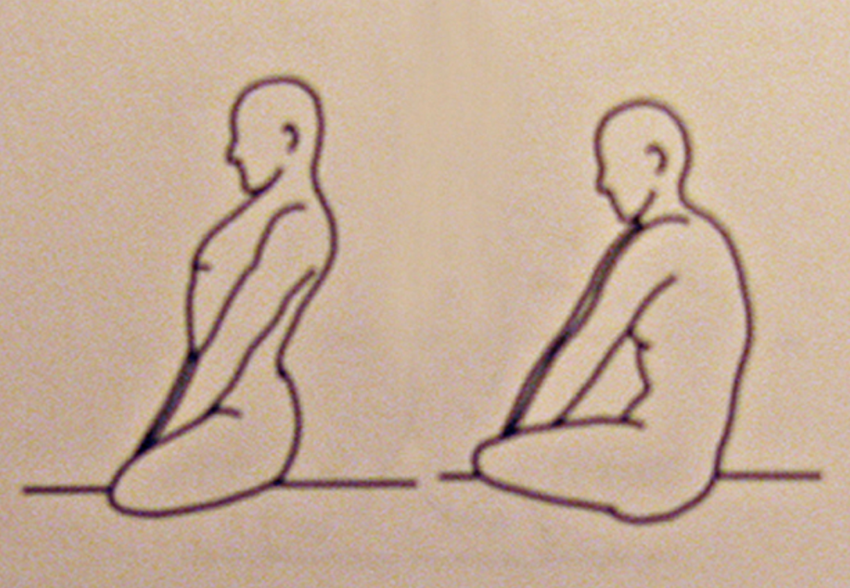 Kundalini Yoga Warm-Up : Camel Ride Spinal Flex   Sit in Easy Pose. Grab the shins in front with both hands. Inhale, flex the spine forward and rock forward on buttocks. Then exhale, flex the spine backwards and roll back on buttocks. Keep the head level and arms fairly straight and relaxed. 1-3 minutes.