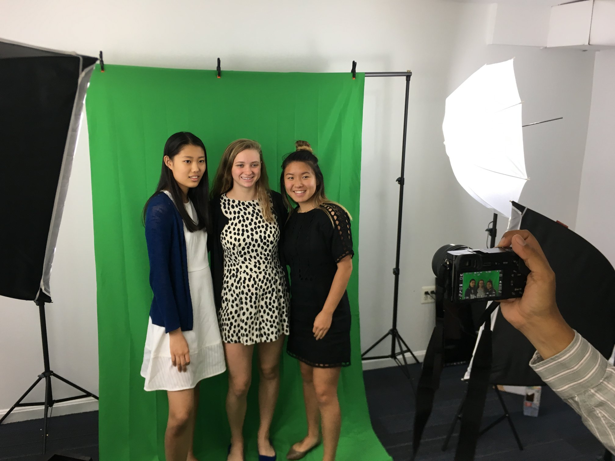 The Madeira School students, Sally Cao, Giovanna Moriarity, and Margaret Needler, during their Spring Internship at Illustrate My Design (IMD) | Spring 2018