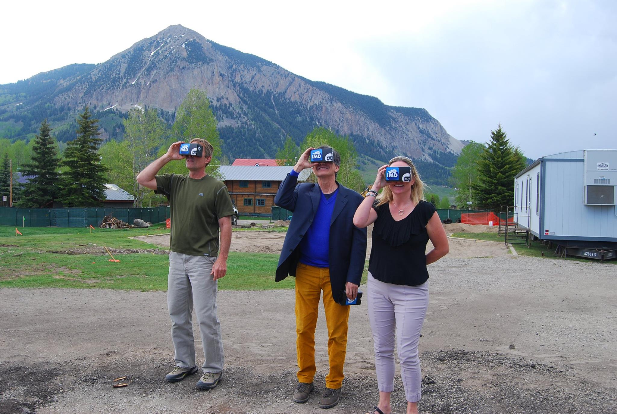 See it Before You Build it | On-site at Crested Butte, Colorado | Future site of the Center for the Arts  Above: Contractor, Architect, Client, all enjoying the 360 VR vision of the building from that specific location on the site for the future construction.