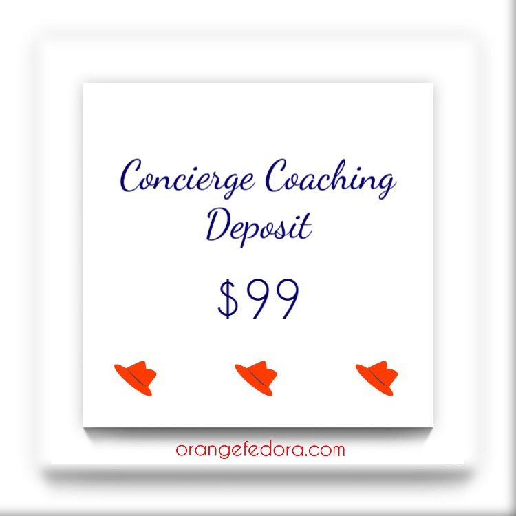 """- Your Concierge Coaching Program includes:* a 45-minute initial coaching call, your 8-hour personalized coaching day, and a 45-minute follow-up call…* PLUS… a BONUS Orange Fedora Faves Bag, and the BONUS """"All In"""" Online Workshop (""""Solo is My Jam!"""")!Total Cost: $1299 (a $2599 value!)"""