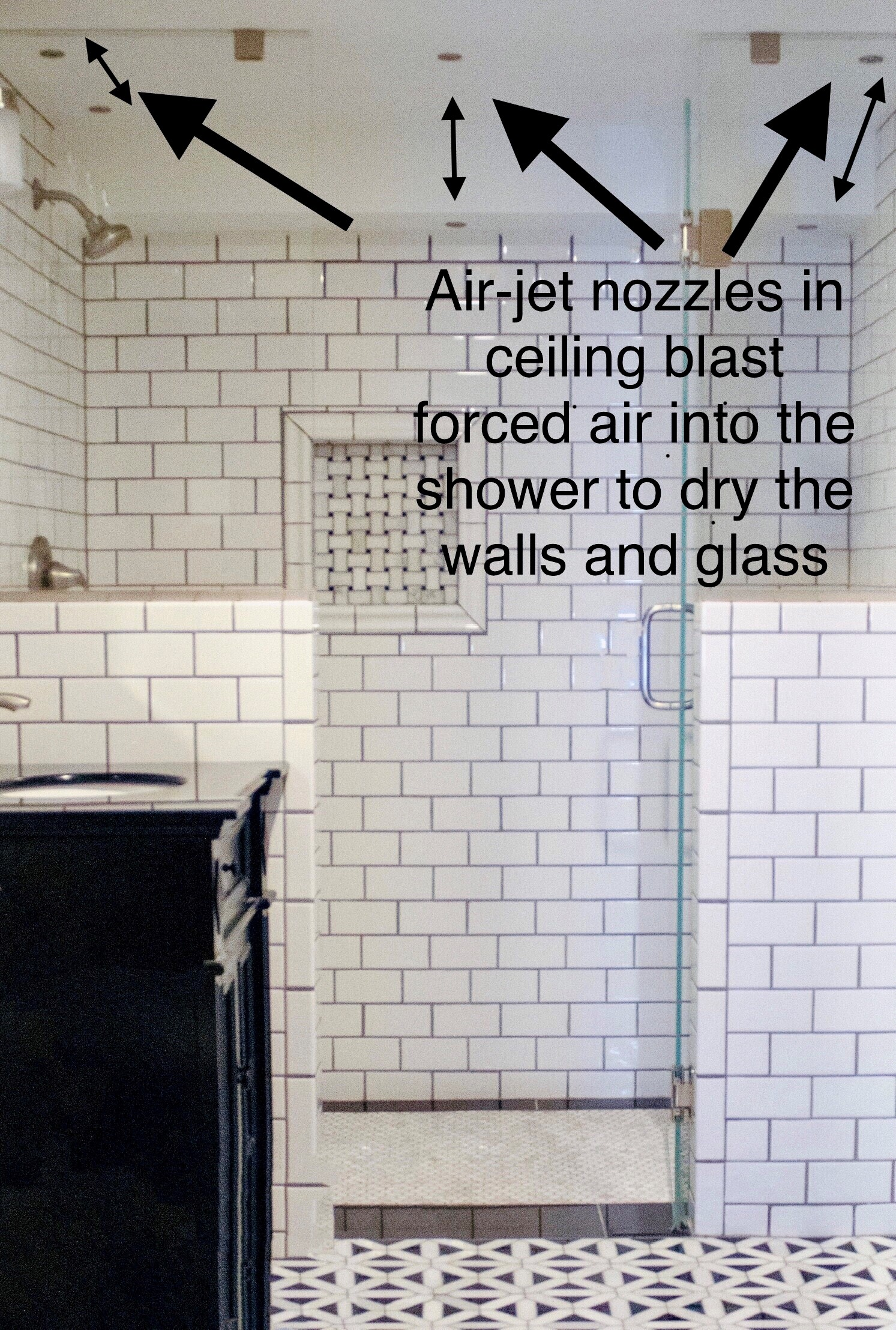 Airmada shower drying system using six air-jet nozzles in the ceiling.