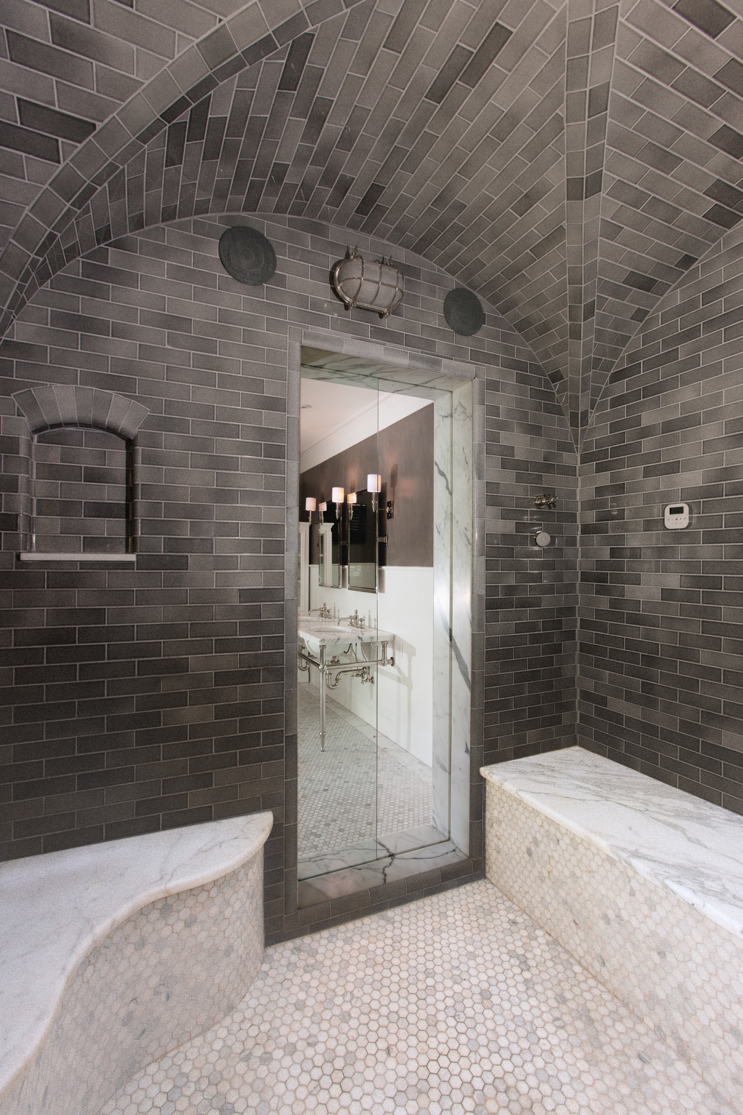 Interior of shower showing the Air-Pocket shower door.