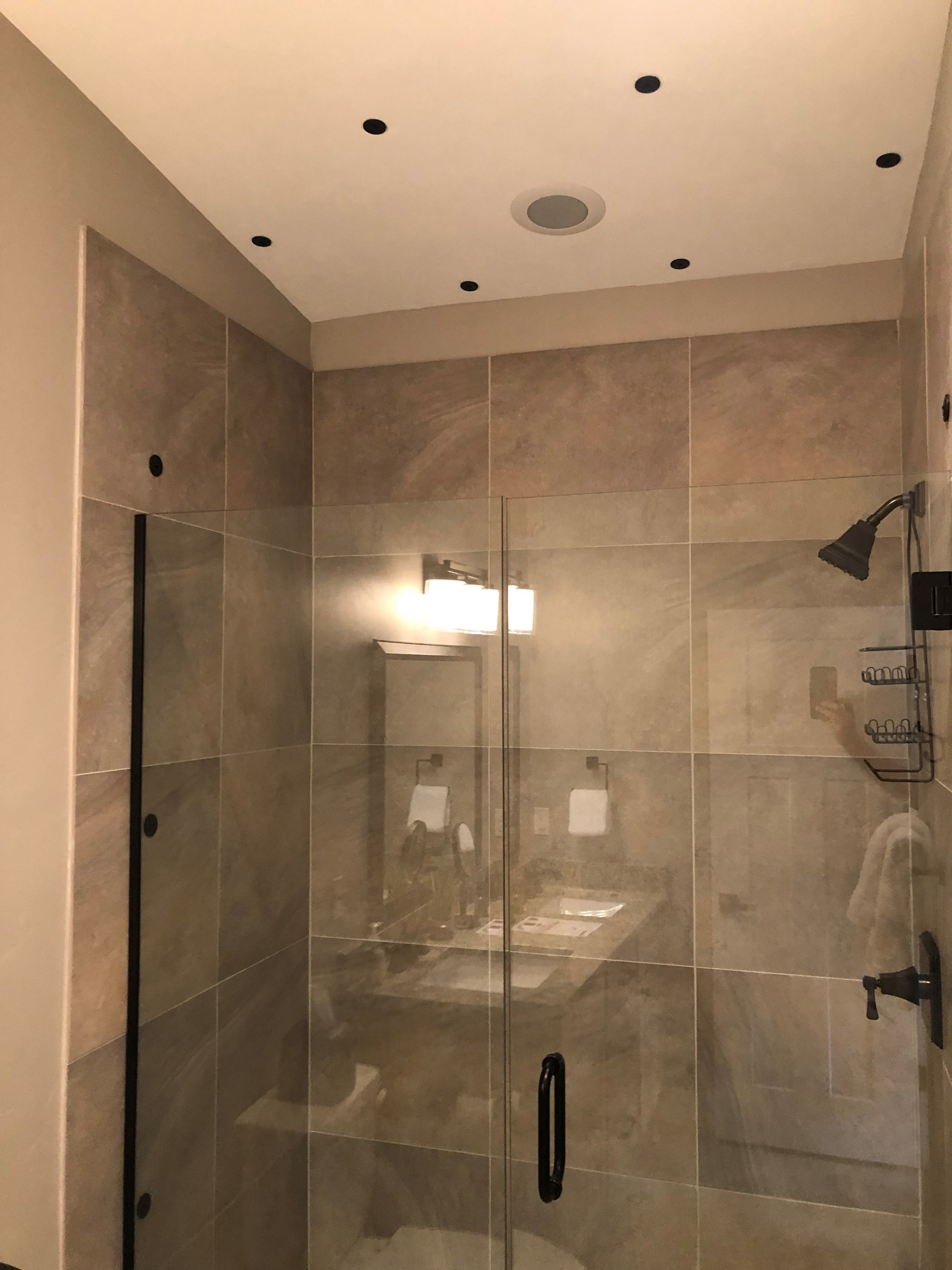 Shower with air-jet nozzles in the ceiling in Winter Park, Colorado.