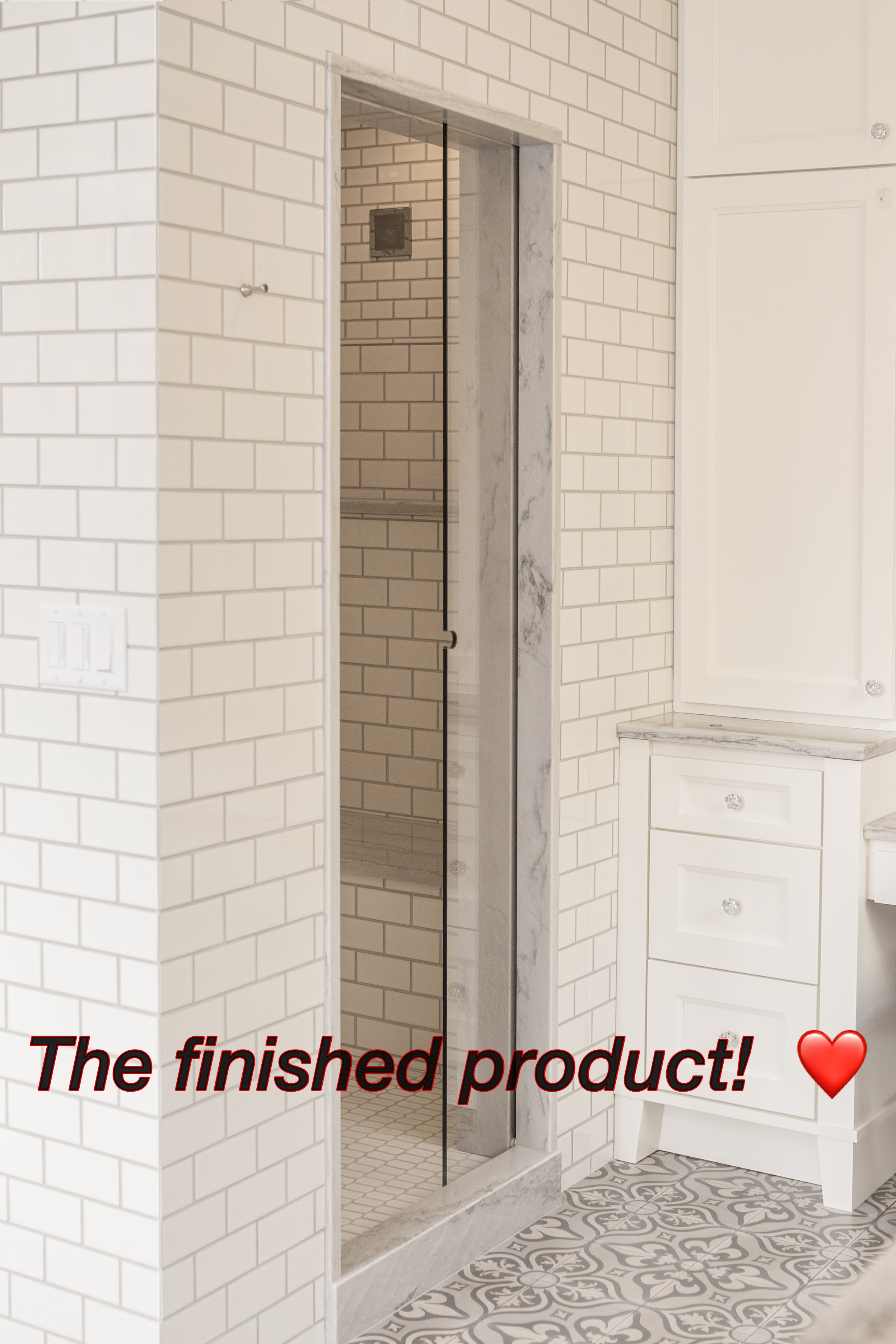 Finished product showing the Air-pocket shower door.