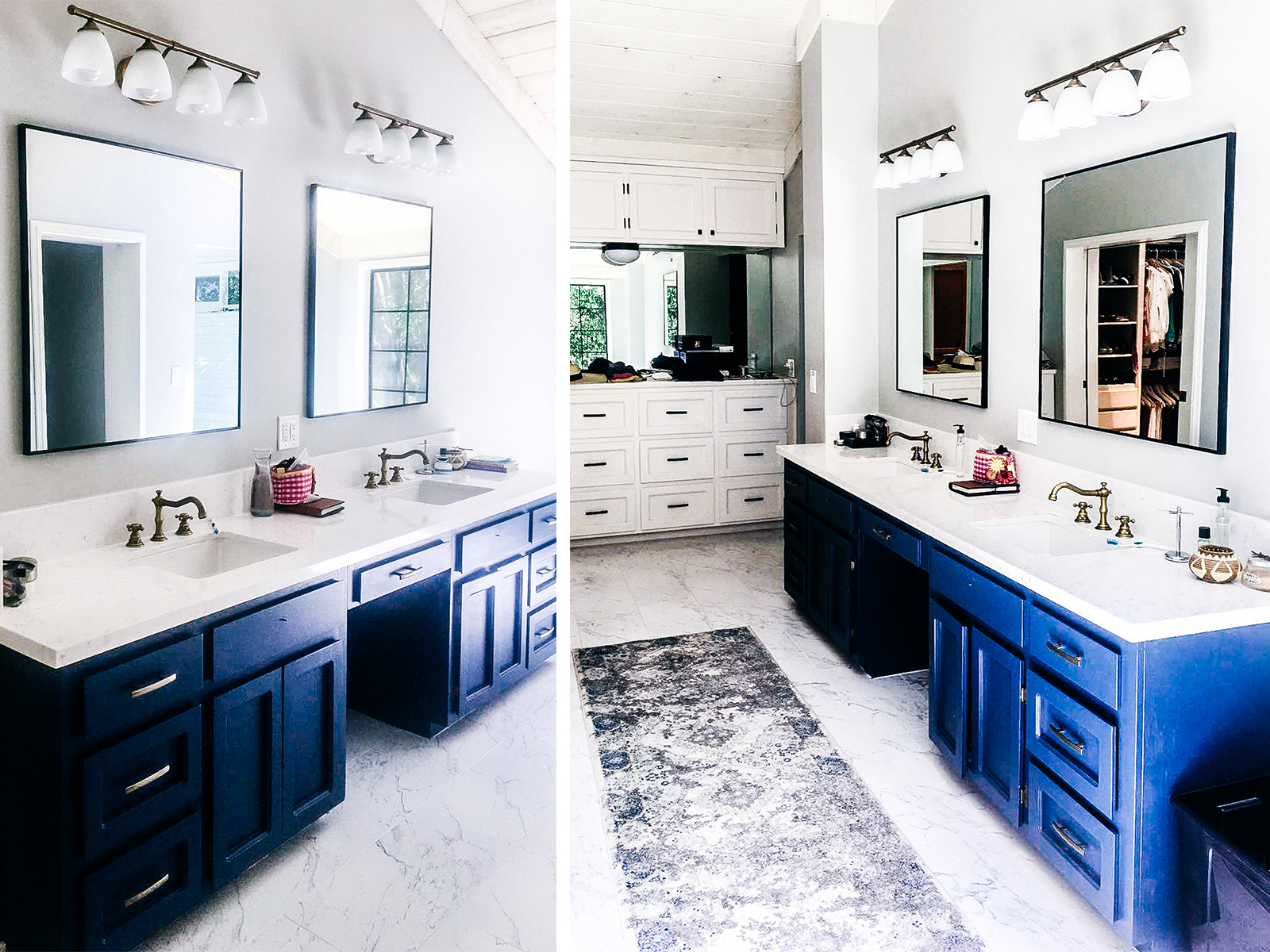 JIMENEZ  - This Master bathroom remodel includes a custom deep royal blue his & hers sink cabinet along with high quality marble look porcelain tile. The bronze finishes tie in the modern rustic charm that the rest of the space